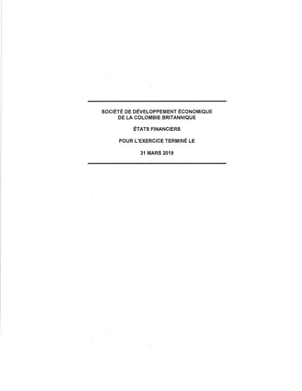 Etats financier mars 2019